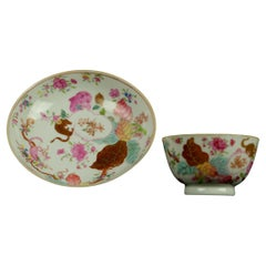 Antique Chinese Famille Rose Tobacco Leaf Tea Bawl Cup & Saucer Porcelain