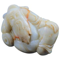 Antique Chinese Figural Carved White Jade Sculpture of Recumbent Buddha