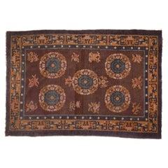 Antique Chinese Five Medallion Carpet, c. 1930