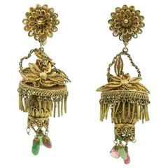 Antique Chinese Floral Gilt Sterling Filagree Lantern Dangle Drop Earrings
