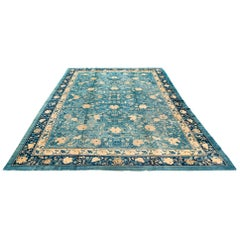 Antique Chinese Floral Rug with an All-Over Design in Blue and Ivory