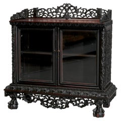 Antique Chinese Foliate Carved Rosewood Double Door Tea Cabinet, 19th Century