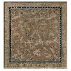 Vintage Chinese Geometric Beige, Blue, Brown Handmade Wool Rug