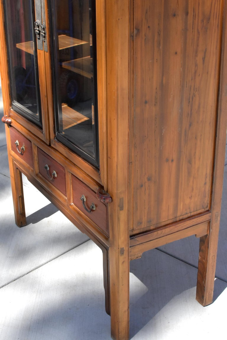 Antique Chinese Glass Curio Cabinet, Ming Style For Sale 11