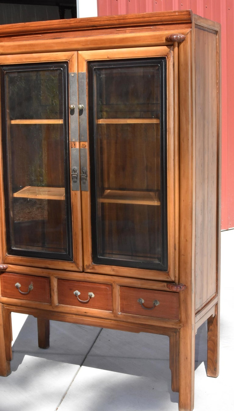 Joinery Antique Chinese Glass Curio Cabinet, Ming Style For Sale