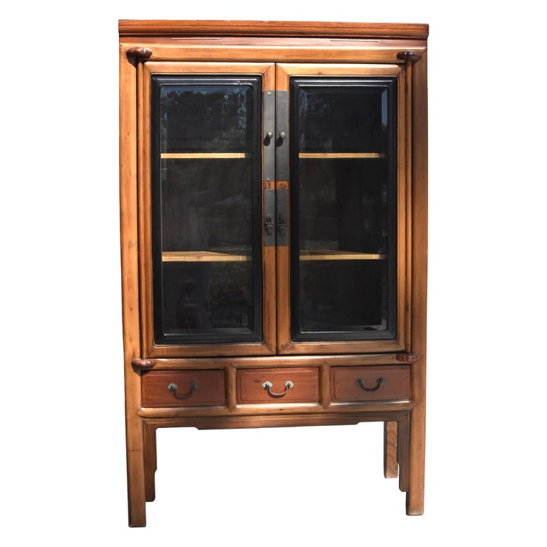 Antique Chinese Glass Curio Cabinet, Ming Style For Sale