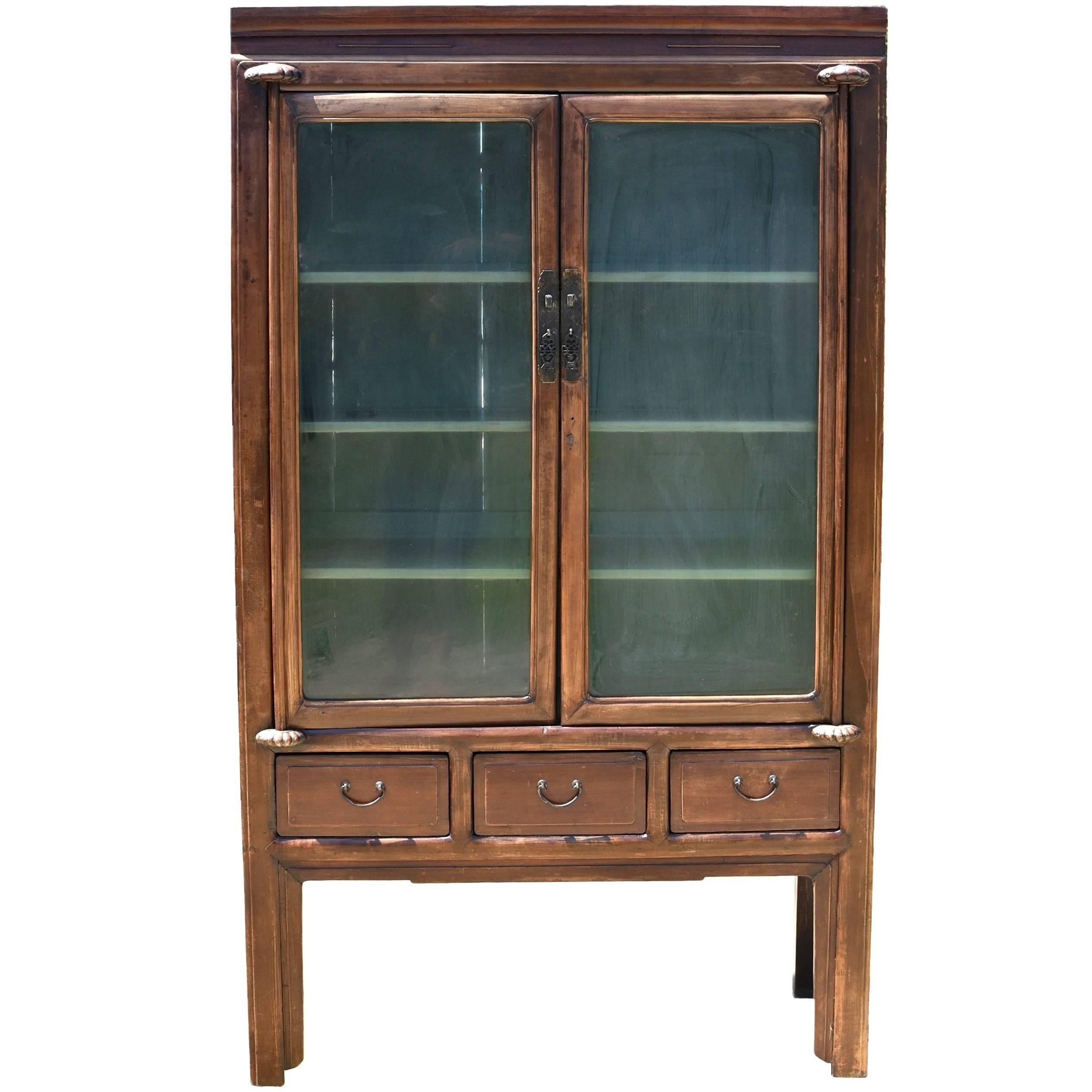 Superieur Antique Chinese Glass Curio Cabinet, Ming Style For Sale