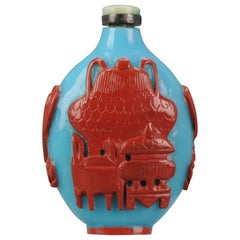 Antique Chinese Glass Snuff Bottle with Lacquer Overlay Qing Dynasty 19th C