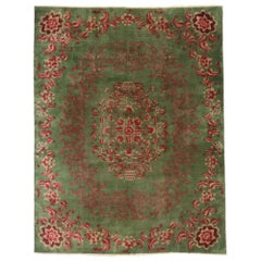 Antique Chinese Green Art Deco Rug with Qing Dynasty Style