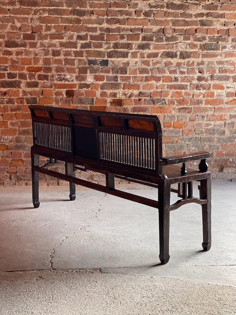 Elm Antique Chinese Hall Seat Bench Heavily Carved Qing Dynasty, 19th Century, 1860 For Sale
