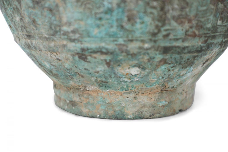 Antique Chinese Han Dynasty-Style Lidded Bronze Ritual Wine Vessel For Sale 8