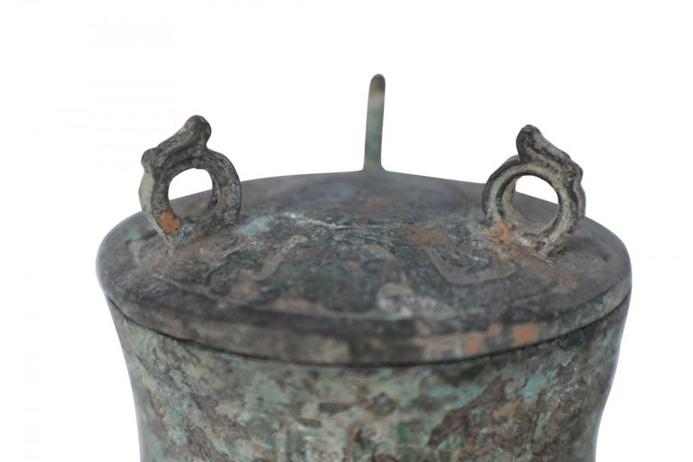Antique Chinese Han Dynasty-Style Lidded Bronze Ritual Wine Vessel For Sale 4