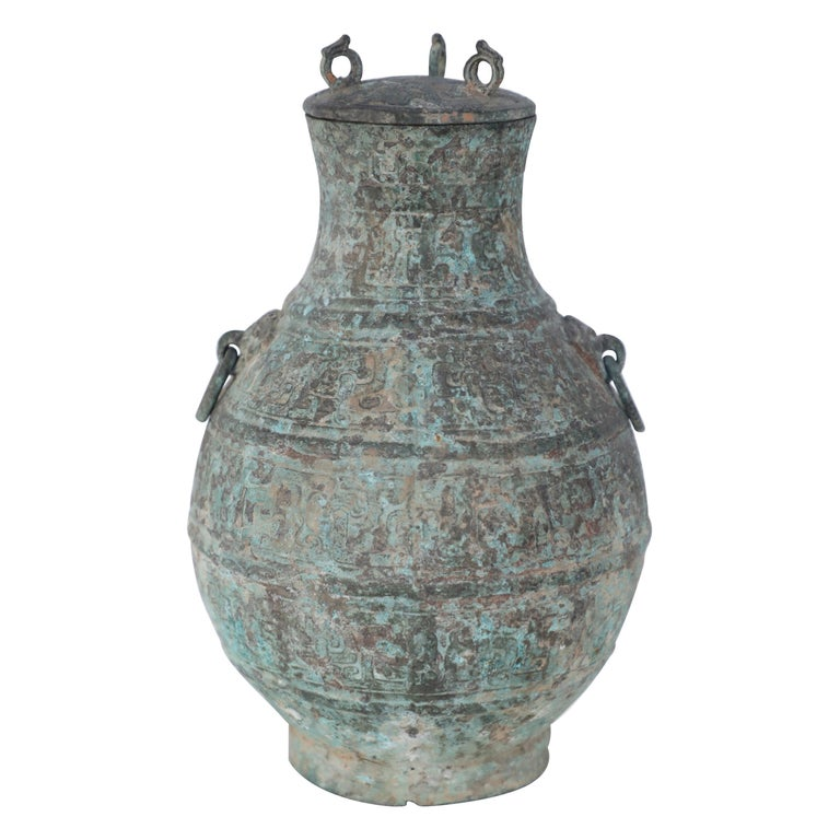 Antique Chinese Han Dynasty-Style Lidded Bronze Ritual Wine Vessel For Sale