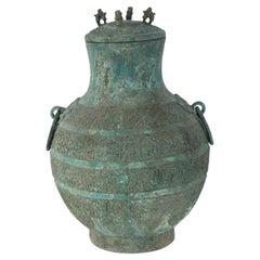 Antique Chinese Han Dynasty-Style Lidded Verdigis Bronze Ritual Wine Vessel