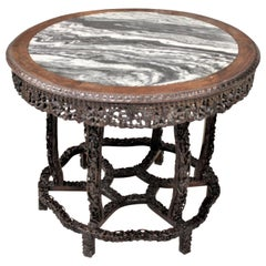 Antique Chinese Hand-Carved Hardwood Center Table with Dream Stone Inset Top