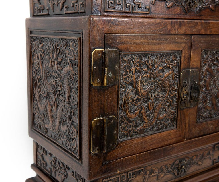 Antique Chinese Hand Carved Hardwood Table Top Dragon Cabinet For Sale 7