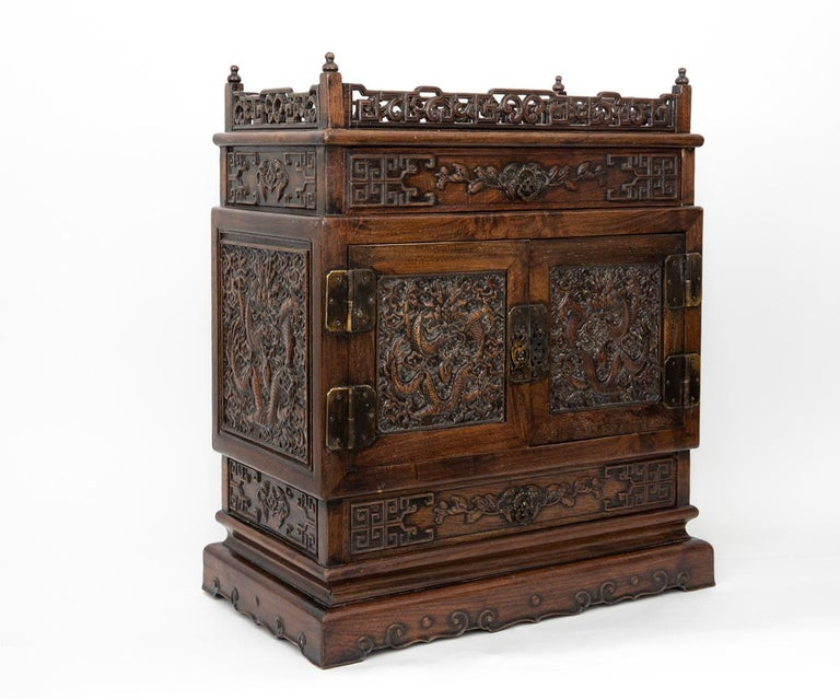 Antique Chinese Hand Carved Hardwood Table Top Dragon Cabinet In Good Condition For Sale In Laguna Beach, CA