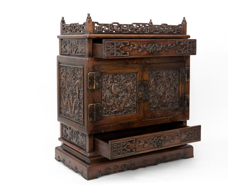 Antique Chinese Hand Carved Hardwood Table Top Dragon Cabinet For Sale 1