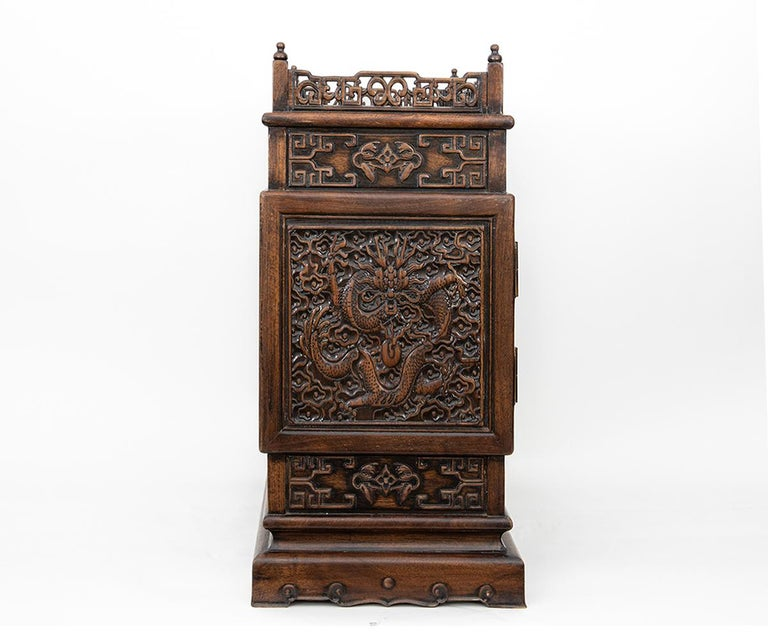 Antique Chinese Hand Carved Hardwood Table Top Dragon Cabinet For Sale 2