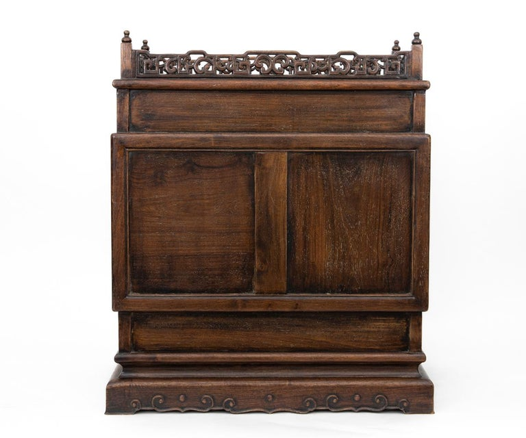 Antique Chinese Hand Carved Hardwood Table Top Dragon Cabinet For Sale 3