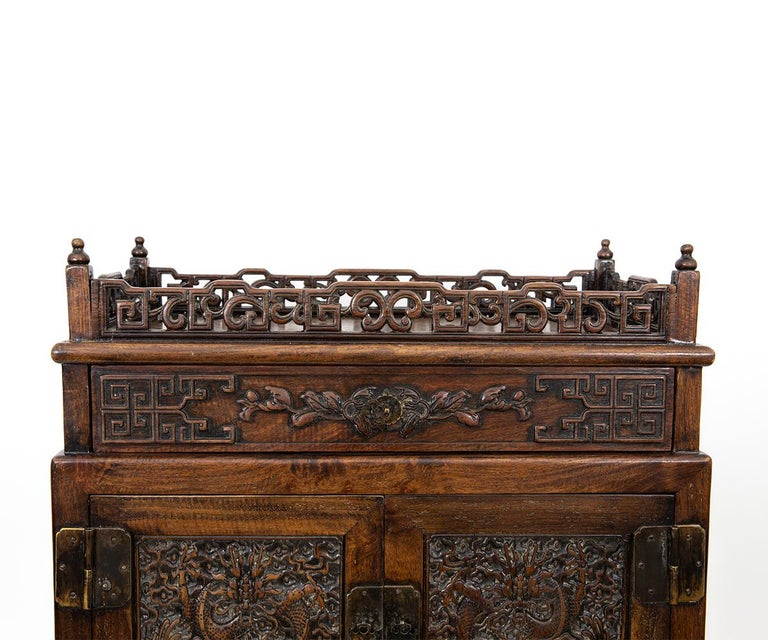 Antique Chinese Hand Carved Hardwood Table Top Dragon Cabinet For Sale 4