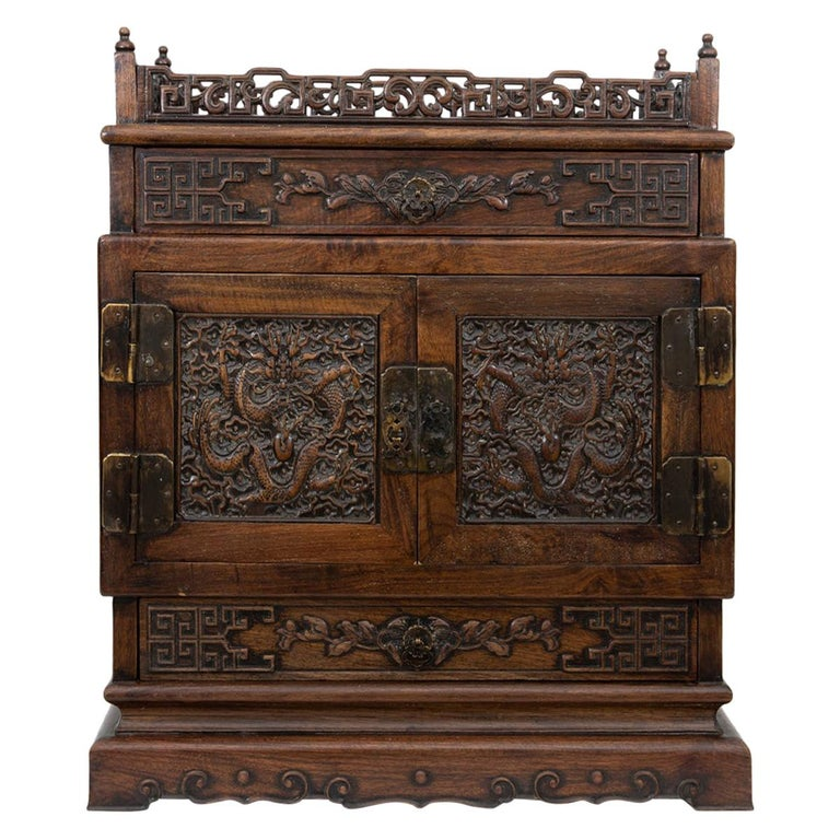 Antique Chinese Hand Carved Hardwood Table Top Dragon Cabinet For Sale