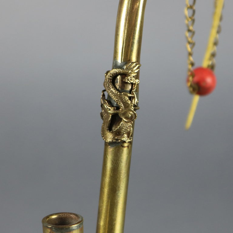 Hand-Crafted Antique Chinese Handcrafted Brass Dragon Decorated Opium Pipe, circa 1910 For Sale