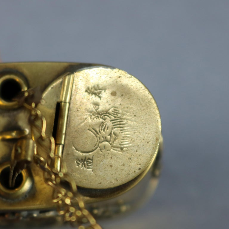 Antique Chinese Handcrafted Brass Dragon Decorated Opium Pipe, circa 1910 In Good Condition For Sale In Big Flats, NY