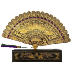 Antique Chinese Hand Paint Gold Lacquer Scene Gilt Fan with Lacquer Box