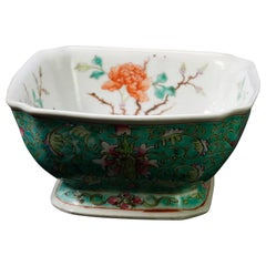 Antique Chinese Hand Painted Floral Celedon Decorated Bowl, Signed, 19th Century