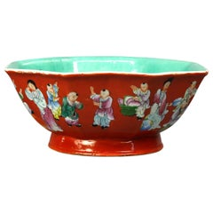 Antique Chinese Hand Painted Porcelain Serving Bowl with Figures, Signed