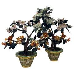 Antique Chinese Hand-Stone Cloisonné Florals