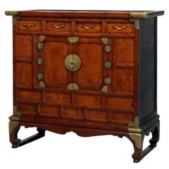 Antique Chinese Hardwood Tea Cabinet with Brass Hardware, 19th Century