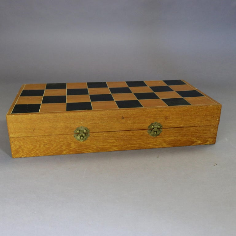 Antique Chinese Highly Detailed Figural Hand Carved Bone Chess Set & Case 6