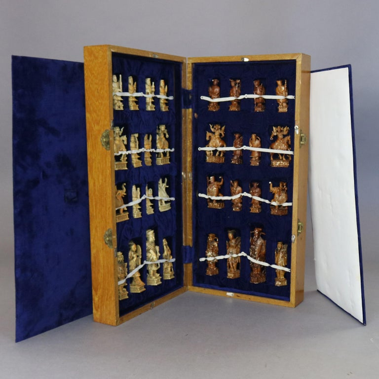 20th Century Antique Chinese Highly Detailed Figural Hand Carved Bone Chess Set & Case