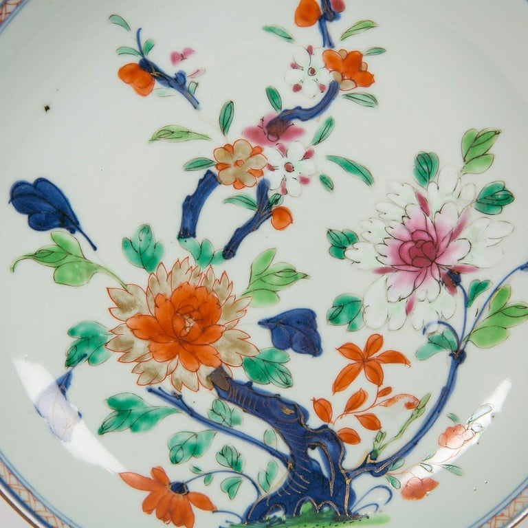 We are pleased to offer this Chinese export dish decorated in the Imari style with peonies budding and in full bloom. In Chinese tradition peonies are known as the king of flowers and symbolize royalty and wealth. This Chinese Imari Porcelain dish