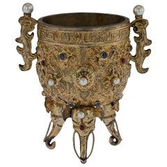 Antique Chinese Impressive Gem Set and Silver Gilt Emperors Cup, circa 1880