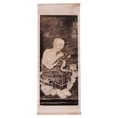 Antique Chinese Ink Rubbing Depicting Panthaka Arhat, Scroll Mounting