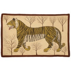 Antique Chinese Ivory Silk Tiger Textile, ca. 1900