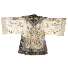 Antique Chinese Kimono Style Jacket Hand Embroidered with Floral Motifs