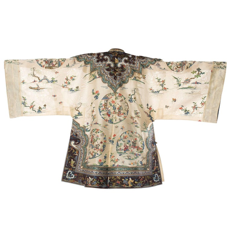 Antique Chinese Jacket Hand Embroidered with Scenic and Floral Motifs