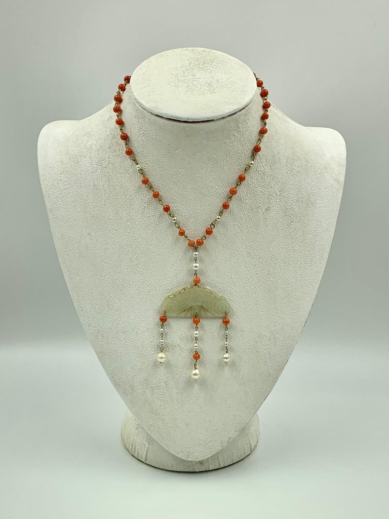 Bead Antique Chinese Jade, Coral and Pearl Pendant Necklace For Sale