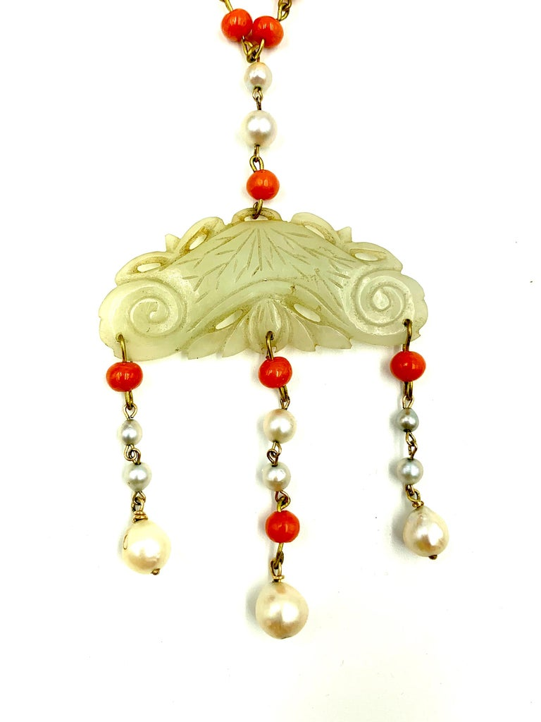 Antique Chinese Jade, Coral and Pearl Pendant Necklace In Good Condition For Sale In New York, NY
