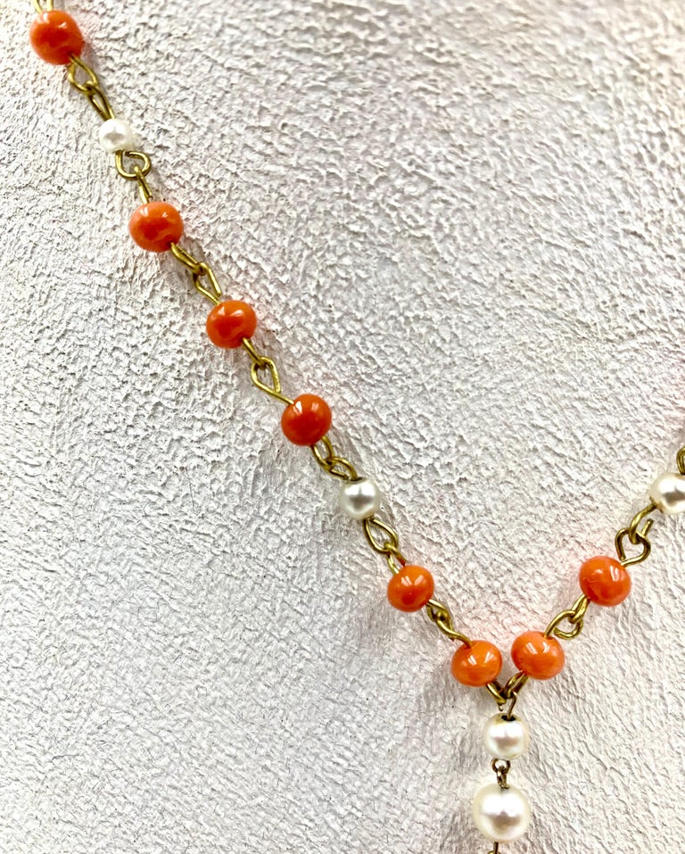 Antique Chinese Jade, Coral and Pearl Pendant Necklace For Sale 2