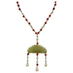 Antique Chinese Jade, Coral and Pearl Pendant Necklace
