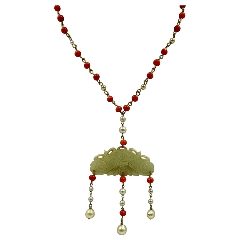 Antique Chinese Jade, Coral and Pearl Pendant Necklace For Sale