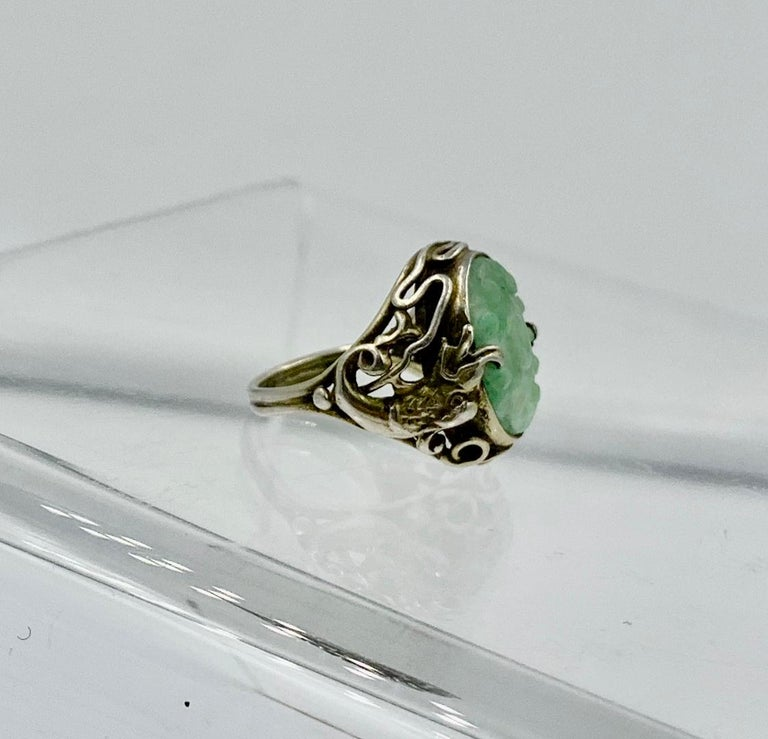 Antique Chinese Jade Dragon Ring Carved Flower Silver For Sale 4