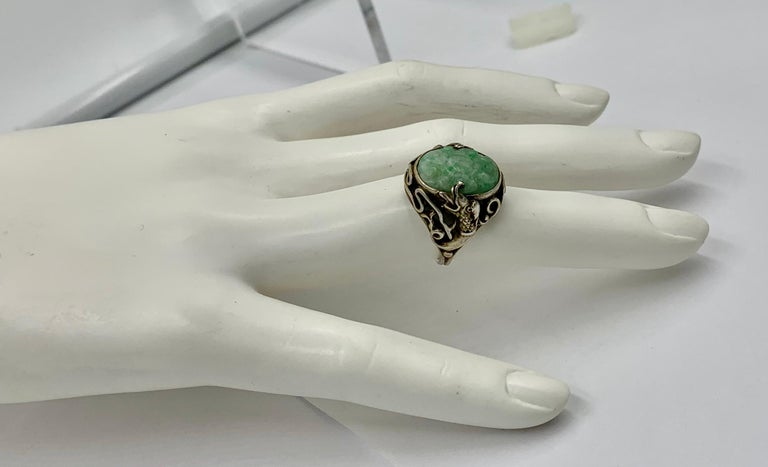 Antique Chinese Jade Dragon Ring Carved Flower Silver For Sale 5