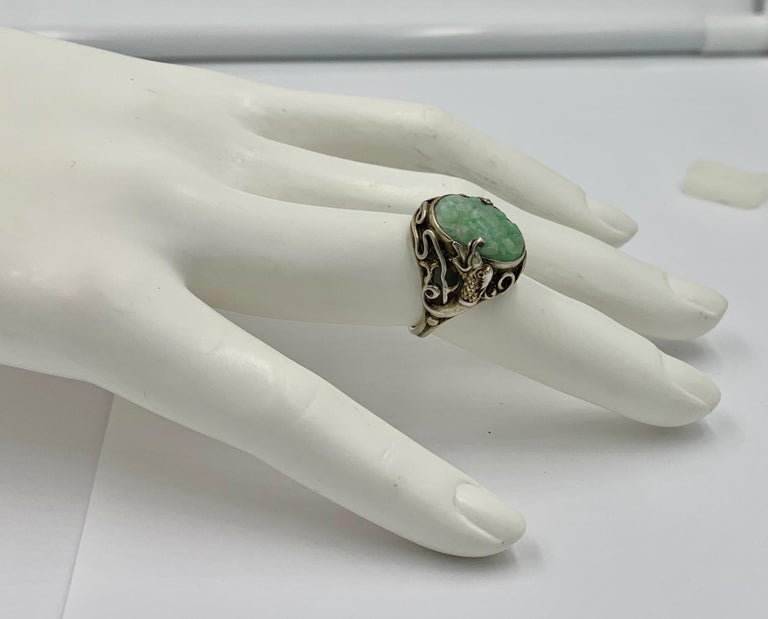 Art Deco Antique Chinese Jade Dragon Ring Carved Flower Silver For Sale