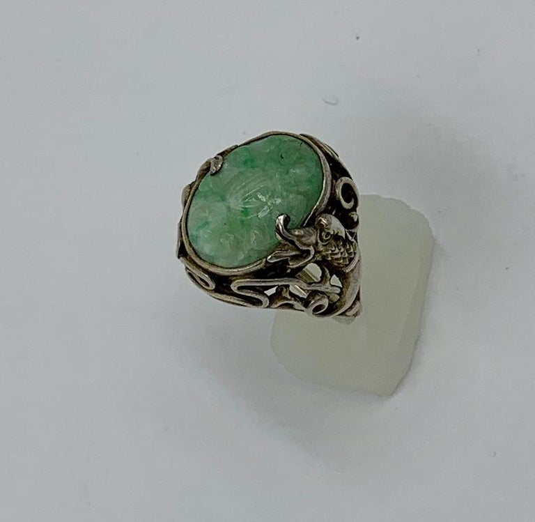 Mixed Cut Antique Chinese Jade Dragon Ring Carved Flower Silver For Sale